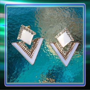 Jewelry - White Triangle Earrings